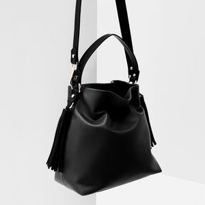 Zara Black Faux Leather Tassel Bucket Bag